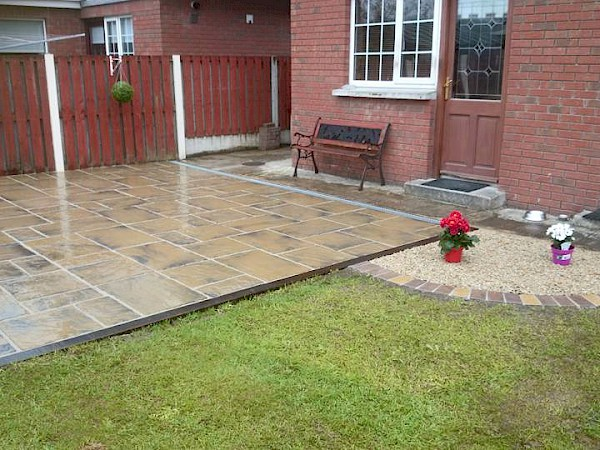 Country Gold paving Belfry Gardens - After